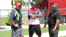 Anand Tummala (left) and Pubudu Dassanayake (right) help out as guest coaches in Florida, USA training camp, Lauderhill, July 28, 2016