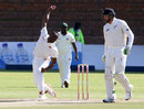 Michael Chinouya delivers the ball, Zimbabwe v New Zealand, 1st Test, Bulawayo, 2nd day, July 29, 2016