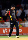 Krishmar Santokie gets his groove on after bagging a wicket, St Kitts & Nevis Patriots v Trinbago Knight Riders, CPL 2016, Lauderhill, July 29, 2016