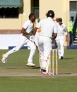 Michael Chinouya celebrates after dismissing Ish Sodhi, Zimbabwe v New Zealand, 1st Test, Bulawayo, 3rd day, July 30, 2016