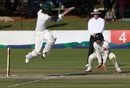 Sikandar Raza hits one awkwardly close to Henry Nicholls at short leg, Zimbabwe v New Zealand, 1st Test, Bulawayo, 3rd day, July 30, 2016
