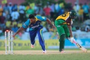 Ravi Rampaul tries to run out Chris Barnwell, Barbados Tridents v Guyana Amazon Warriors, CPL 2016, Lauderhill, July 30, 2016