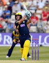 Will Smith hits down the ground during his 84, Glamorgan v Hampshire, Royal London Cup, South Group, Swansea, July 31, 2016