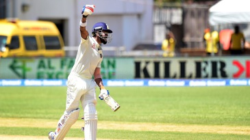 KL Rahul punches the air in delight