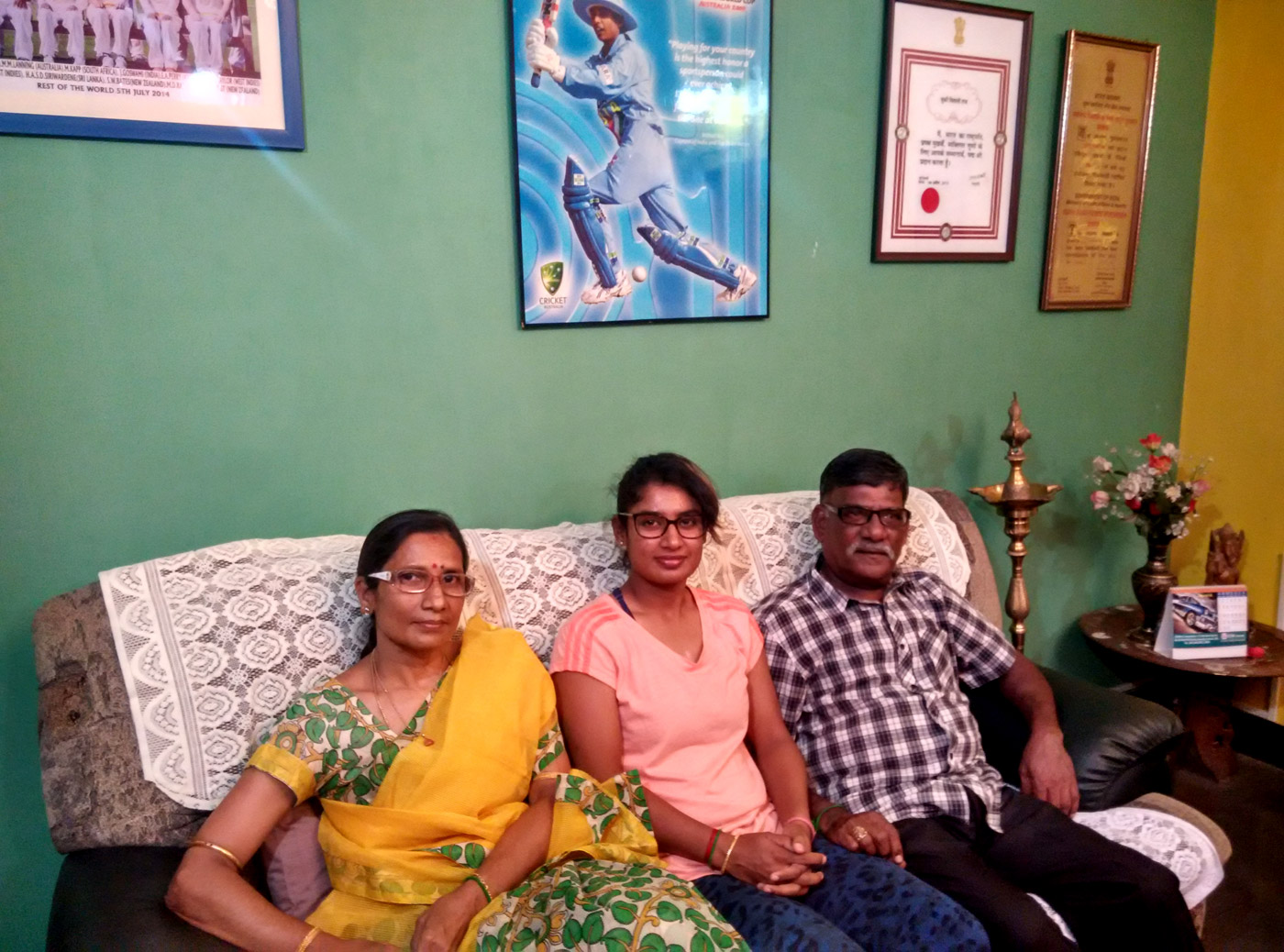 Mithali Raj at home with her parents