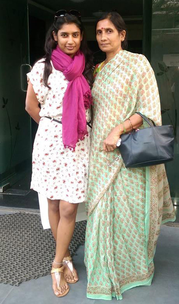 Mithali with her mother, who gave up her career to look after her daughter's needs