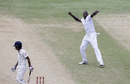 Jason Holder is jubilant after trapping Wriddhiman Saha lbw, West Indies v India, 2nd Test, Kingston, 3rd day, August 1, 2016