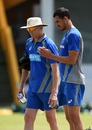 Mitchell Starc has a chat with bowling coach Allan Donald, Galle, August 2, 2016