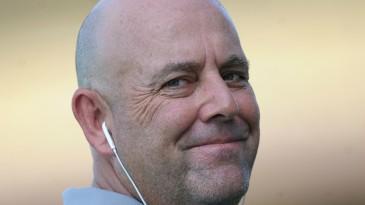 Darren Lehmann is all smiles during Australia's practice session