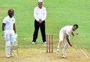 Mohammed Shami delivers a ball, West Indies v India, 2nd Test, Kingston, 4th day, August 2, 2016