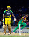 Wild celebrations erupt after Chris Gayle is bowled, Guyana Amazon Warriors v Jamaica Tallawahs, CPL 2016, 1st playoff, St Kitts, August 3, 2016