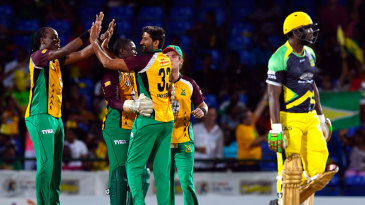 Guyana Amazon Warriors get together after Sohail Tanvir bowls Andre Russell