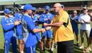 Debutant Jon Holland receives his baggy green from Australian fast bowling great Merv Hughes, Sri Lanka v Australia, 2nd Test, Galle, 1st day, August 4, 2016