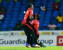 Dwayne Bravo and Yannic Cariah collide, St Lucia Zouks v Trinbago Knight Riders, CPL 2016, eliminator, St Kitts, August 4, 2016