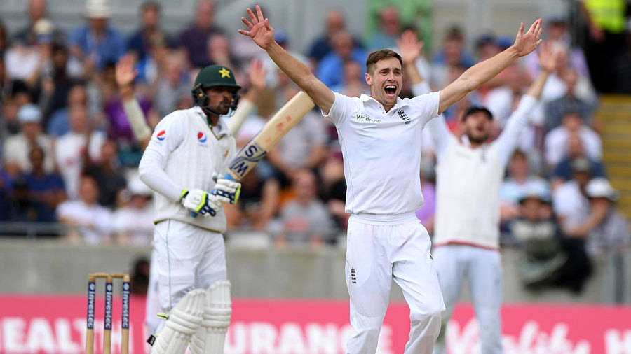 Mohammad Amir was lbw to Chris Woakes on review