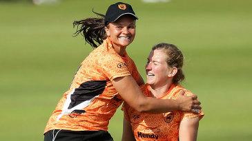 Suzie Bates and Morna Nielsen celebrate Deandra Dottin's wicket