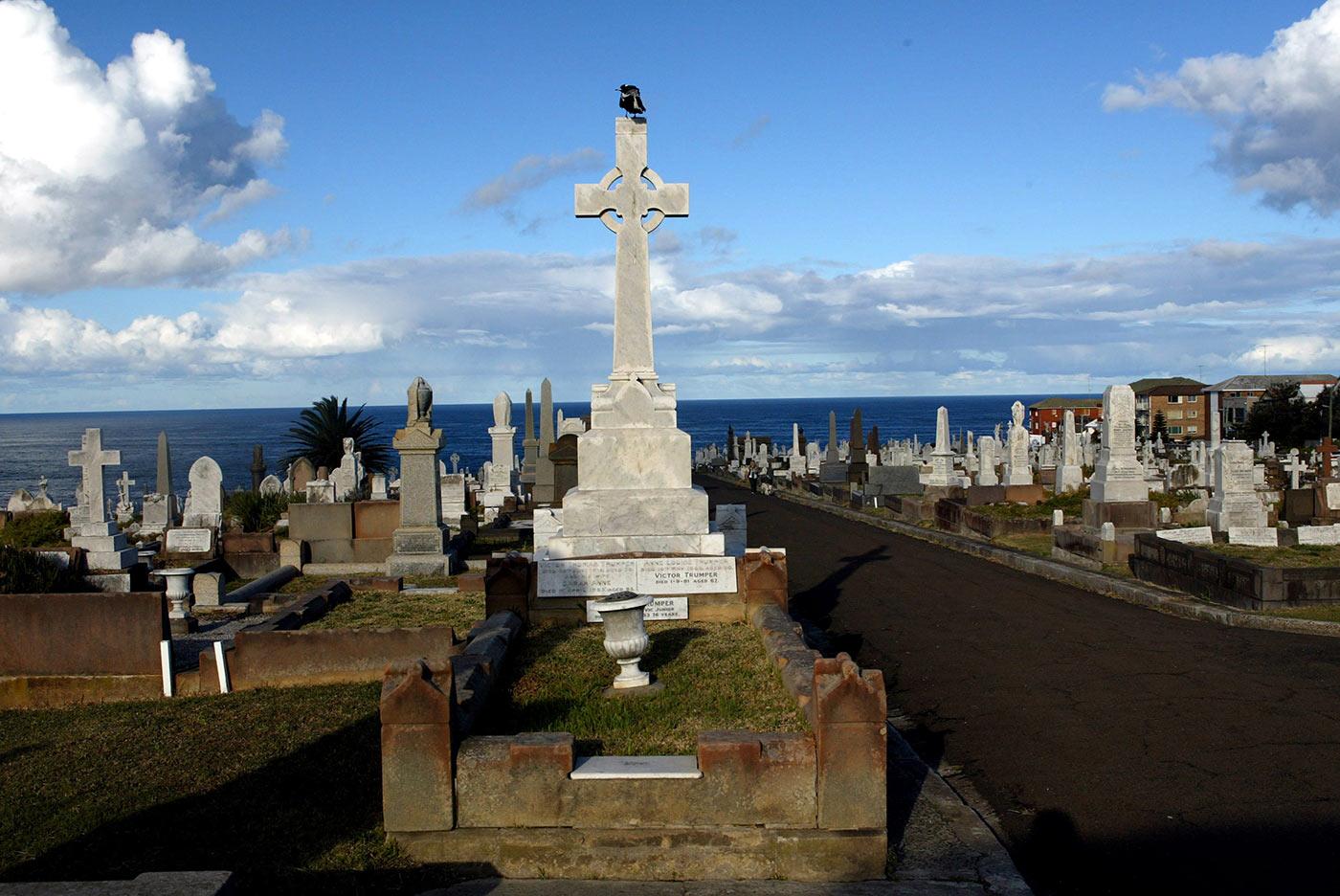 Trumper's grave in Waverley Cemetery, Sydney