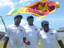 Angelo Mathews with the architects of Sri Lanka's win, Dilruwan Perera and Rangana Herath, Sri Lanka v Australia, 2nd Test, Galle, 3rd day, August 6, 2016