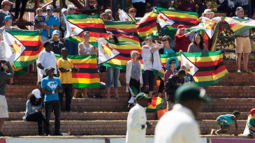 Zimbabwe fans hold up their flags as part of a peaceful protest