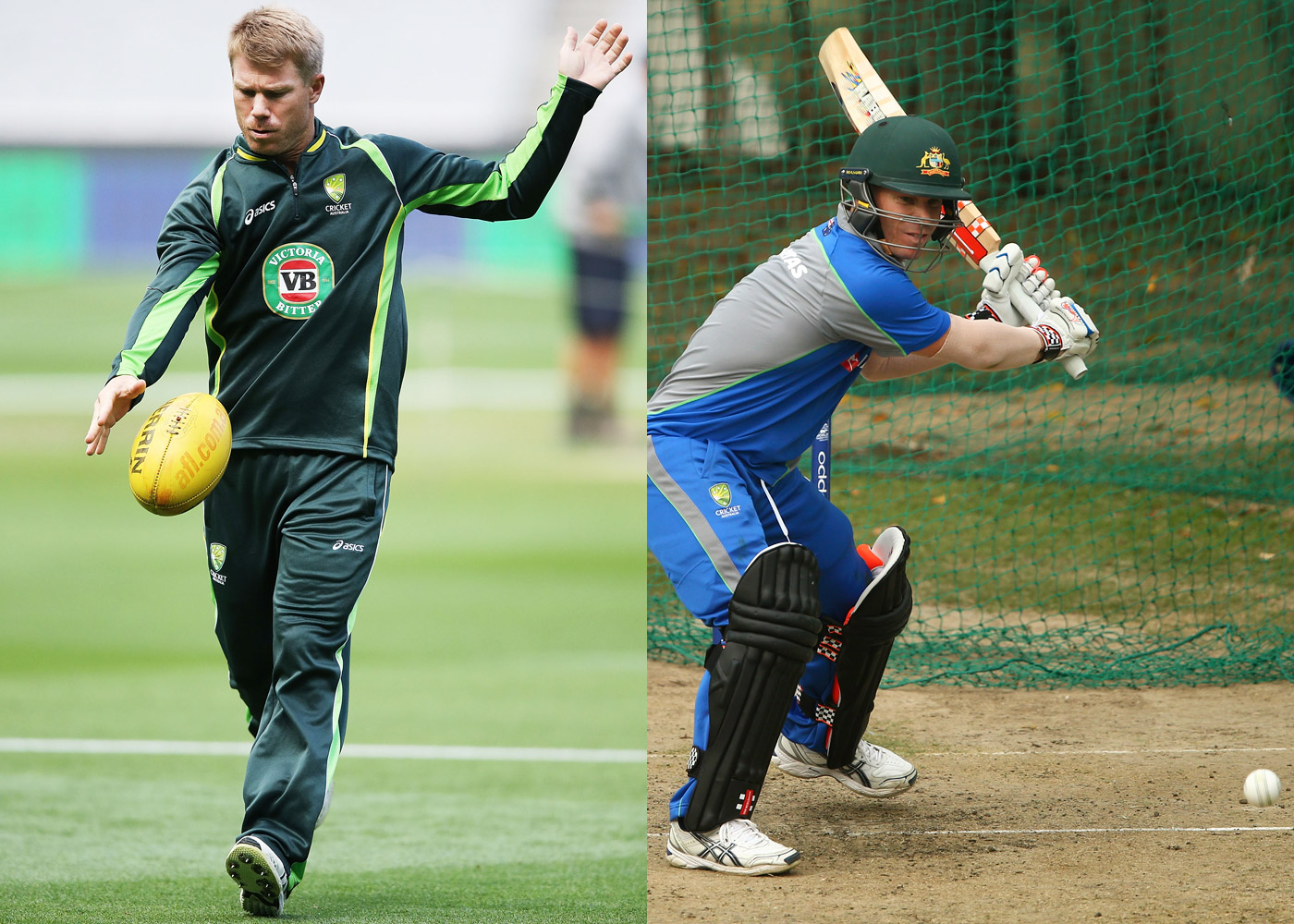 David Warner prefers kicking a football with his dominant right leg but favours his left while batting