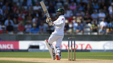 Mohammad Hafeez helps the ball to long leg