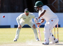 Tino Mawoyo defends on the off side, Zimbabwe v New Zealand, 2nd Test, Bulawayo, 2nd day, August 7, 2016