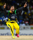 Shakib Al Hasan goes up with a successful appeal for the wicket of Jason Mohammed, Jamaica Tallawahs v Guyana Amazon Warriors, CPL 2016, Final, St Kitts, August 7, 2016