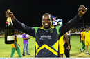 Jamaica Tallawahs' captain Chris Gayle raises his arms in triumph, CPL 2016, final, St Kitts, August 7, 2016