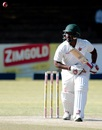 Tino Mawoyo eyes the off side, Zimbabwe v New Zealand, 2nd Test, Bulawayo, 4th day, August 9, 2016