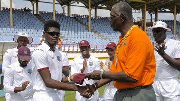 Alzarri Joseph receives his maiden Test cap from Joel Garner