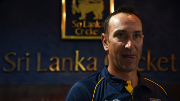 Nic Pothas, Sri Lanka's new fielding coach, speaks at a press meeting