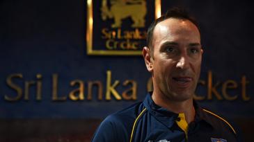 Nic Pothas, Sri Lanka's new fielding coach, speaks at a press meeting