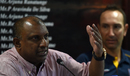 Aravinda de Silva speaks at a press meeting while Nic Pothas looks on, Colombo, August 10, 2016