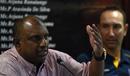 Aravinda de Silva speaks at a press meeting while Nic Pothas looks on, Colombo, August 10, 2016