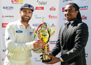 Kane Williamson receives the series trophy, Zimbabwe v New Zealand, 2nd Test, Bulawayo, 5th day, August 10, 2016