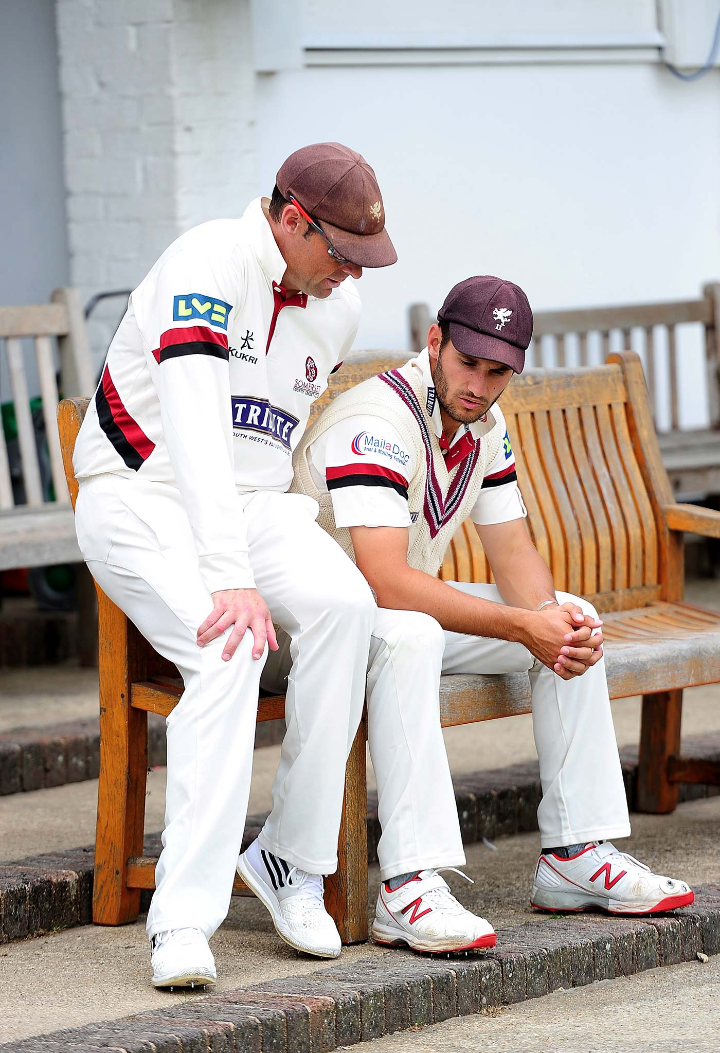 The elder statesman: Trescothick, seen here with Lewis Gregory, is one of the oldest players on the county circuit