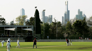 Shane Warne of St Kilda bowls during the Premier Cricket match between St Kilda Saints and Foots-Edgewater Bulldogs at the Junction Oval