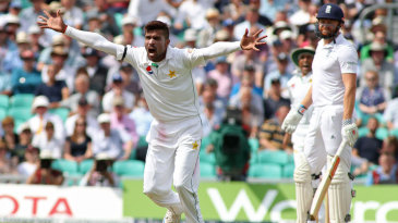 Mohammad Amir appeals unsuccessfully for the wicket of Jonny Bairstow