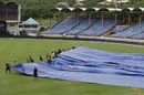 Steady rain kept the groundstaff busy on the third morning, West Indies v India, 3rd Test, Gros Islet, 3rd day, August 11, 2016