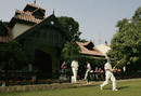 Marcus Trescothick and Andrew Strauss walk out to bat, Pakistan A v England, Bagh-e-Jinnah, Lahore, 1st day, November 6, 2005