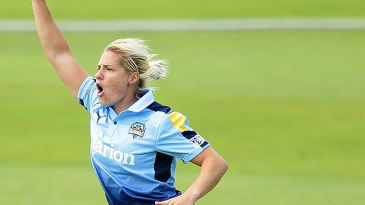 Katherine Brunt claims a wicket