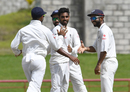 Bhuvneshwar Kumar is congratulated on his five-wicket haul, West Indies v India, 3rd Test, Gros Islet, 4th day, August 12, 2016