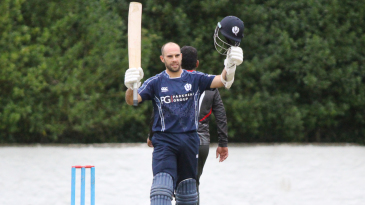 Kyle Coetzer acknowledges the crowd after reaching his third ODI century