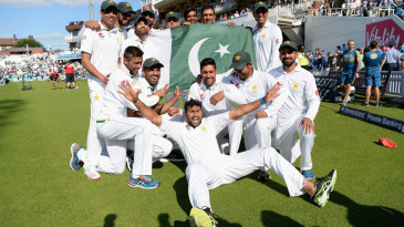 The Pakistan players celebrated victory