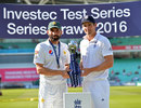 Misbah-ul-Haq and Alastair Cook shared the series trophy, England v Pakistan, 4th Test, The Oval, 4th day, August 14, 2016