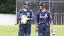Preston Mommsen and Con de Lange walk off after Scotland's second highest ODI total, Scotland v UAE, ICC WCL Championship, Edinburgh, August 14, 2016