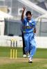 India Under-19 bowler Siddharth Trivedi celebrates the dismissal of Pakistan Under-19 batsman Arslan Mir, bowled for 0. ICC Under-19 World Cup Super League Group 1: India Under-19s v Pakistan Under-19s at Lincoln Green, Lincoln, 31 January 2002.