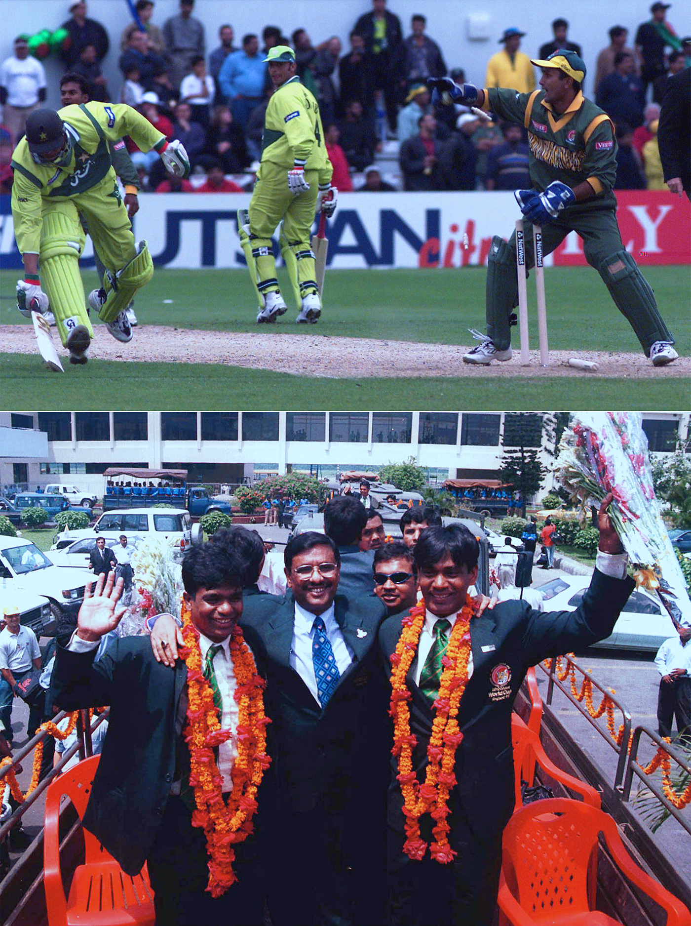 Bangladesh stun Pakistan in the 1999 World Cup, in Northampton (top); Aminul Islam (left) and Mohammad Rafique (far right) enjoy the heroes' welcome given to the team in Dhaka after the tournament