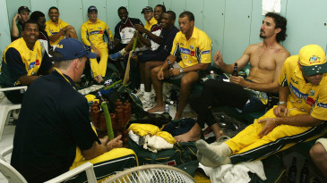 Australian and West Indies players sit together for drinks at the end of the tour