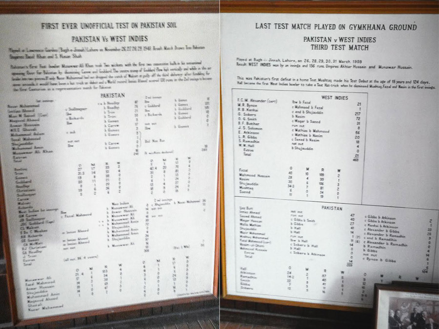 (Left) The scorecard for the first unofficial Test in Pakistan; (right) the last Test played at the Gymkhana ground